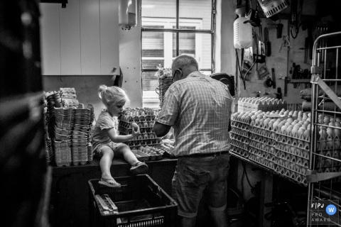 A little girl helps her grandfather with cartons of chicken eggs in this Family Photojournalist Association awarded photo by an Utrecht, Netherlands documentary family photographer.