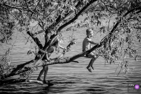 Two children play on a tree branch hanging over water in this award-winning photo by a The Hague, Zuid Holland family photographer.