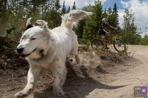 A dog runs ahead of a girl on her bike in this Family Photojournalist Association contest awarded photo created by a Boulder, CO family photographer.
