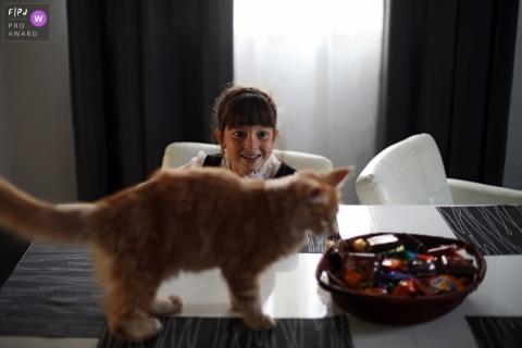 Une petite fille regarde un chaton renifler un bol de bonbons sur cette photo primée d'un photographe de famille de Saint-Pétersbourg, en Russie.