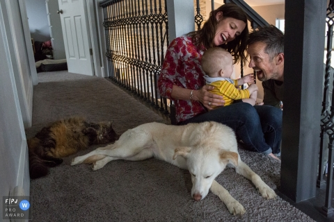 Une mère et un père jouent avec leur bébé tandis que leur chien et leur chat gisent à côté d'eux sur cette photo réalisée par un photographe de famille documentaire de Boulder, CO.