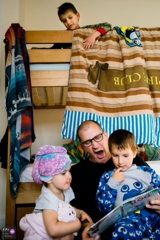 England Bedtime stories with a family photographer present.