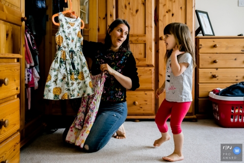 England Mother and daughter choosing a dress - Kent family photography