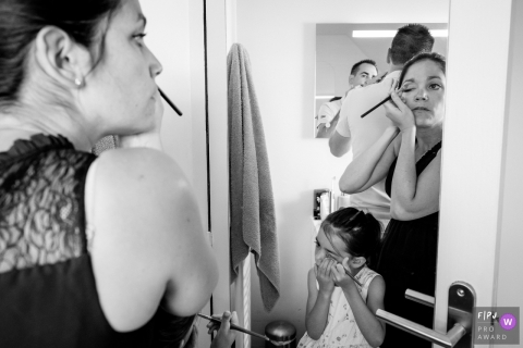 All the family getting ready in the same time in the bathroom | France Day in the Life Photo
