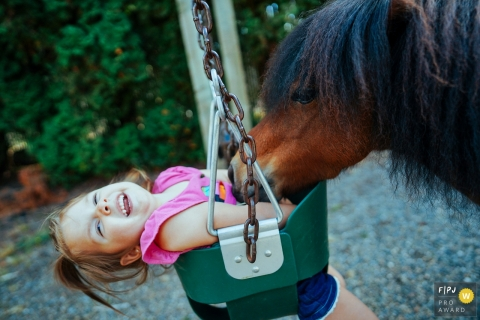 Washington family photo of a mini horse tickling child on swing