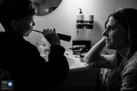 Zeeland Netherlands mother watching son Brushing teeth