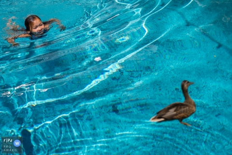 A daughter chases a duck in her swimming pool in Los Angeles, California during family photo shoot