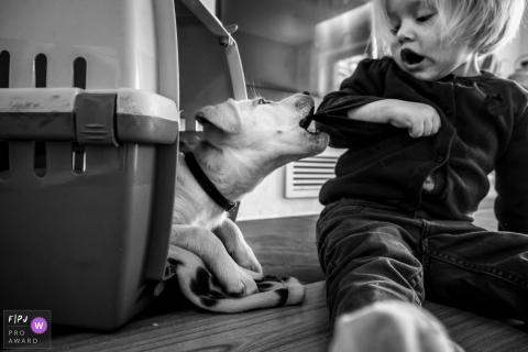 Düsseldorf Dokumentarisches Familienbild eines Hundes, der einen kleinen Schluck auf das junge Kleinkind nimmt