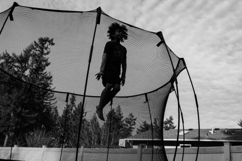 High jump on the trampoline