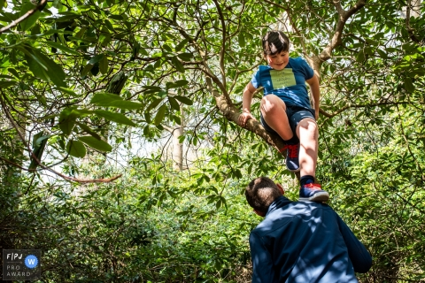 Moment-driven East Flanders family photography showing dad helping child down from a tree