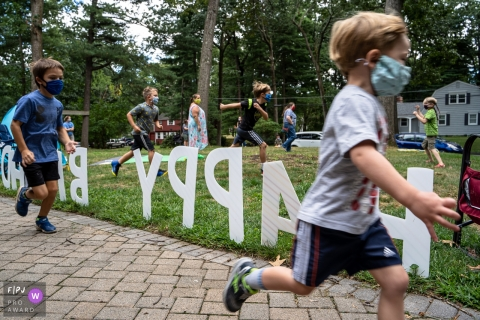 Moment-driven Connecticut family photography capturing a Pandemic birthday party