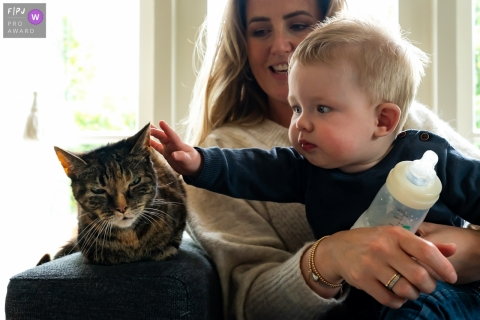 Zuid Holland family photo of a young boy taking a break from his bottle to reach out to his cat