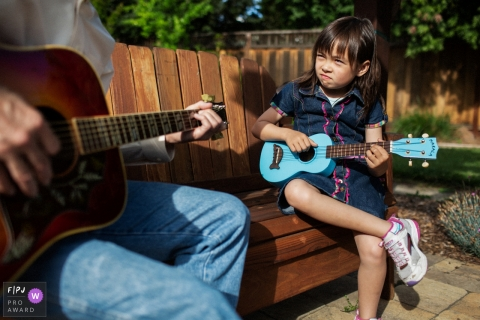 San Francisco daddy-daughter guitar duet fun during this CA family photography session