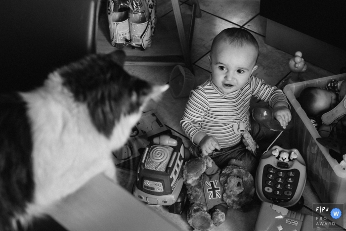 A little boy looks up at a cat as he plays with his toys in this photo by a Paris, France award-winning family photographer.