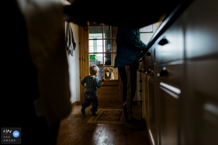 A little boy runs to go see his dog as his parents work in the kitchen in this Family Photojournalist Association awarded photo by a Copenhagen documentary family photographer.