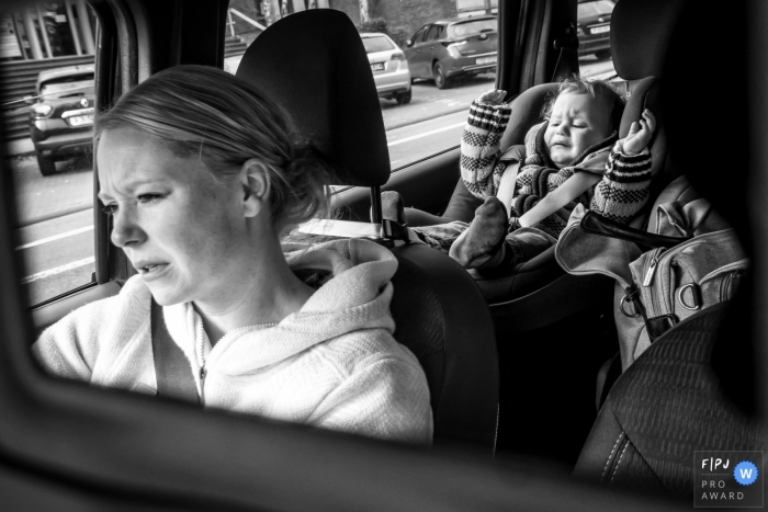North Rhine-Westphalia family photos showing a Tough day for everyone in the car ride in Dusseldorf