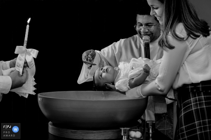 Minas Gerais, Brazil baby baptism photography in black and white.