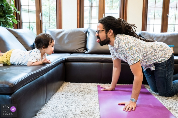 Parents Couch Furniture People Fitness Sport Working Out Exercise Yoga Room Indoors Living Room