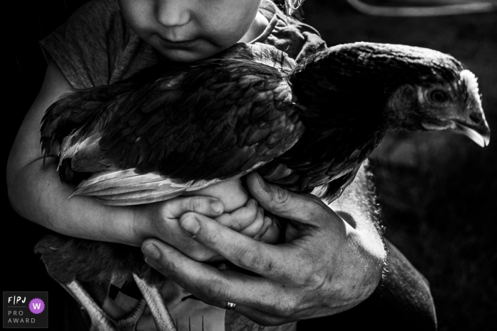 Kent	family photography for all of England - Girl holding chicken