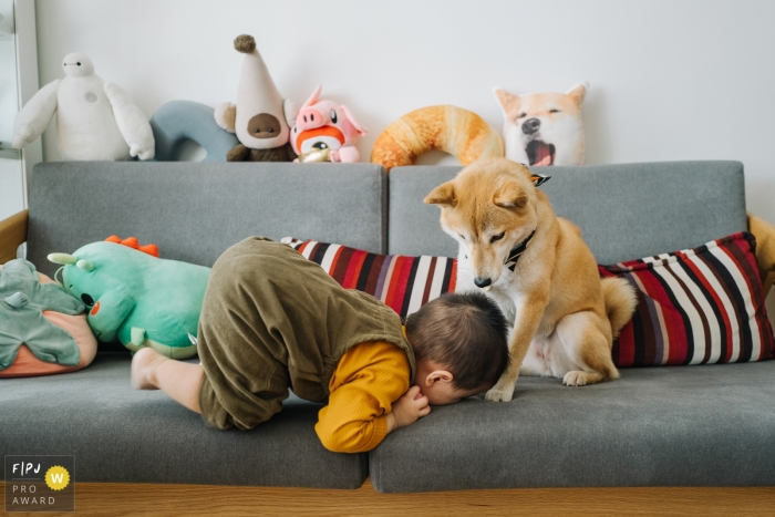Hangzhou City Family Photos | The children are tired and kneel in front of the dog.