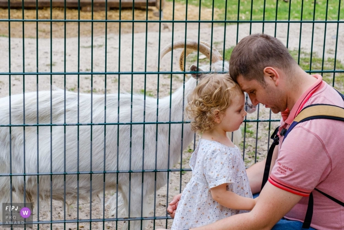 Germany	family outing photographer with dad and daughter at the Petting zoo - Berlin