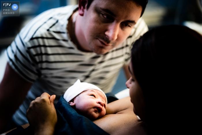 Baby, Mum and Dad | France Birth Photo
