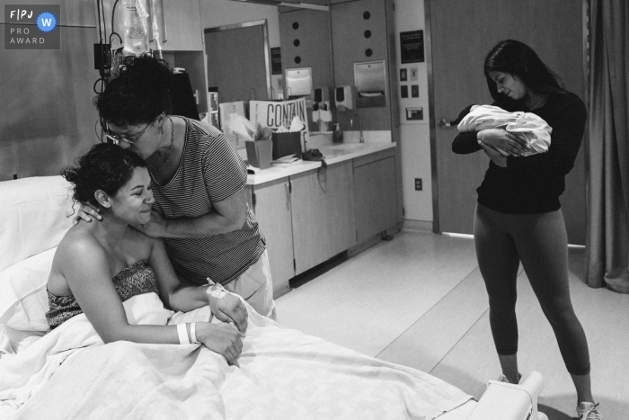 Washington mother at the hospital - thankful after birth - family and birthing photography for Seattle