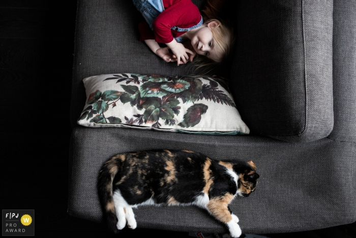 Eindhoven Noord Brabant young child and sleeping cat Sharing the couch.