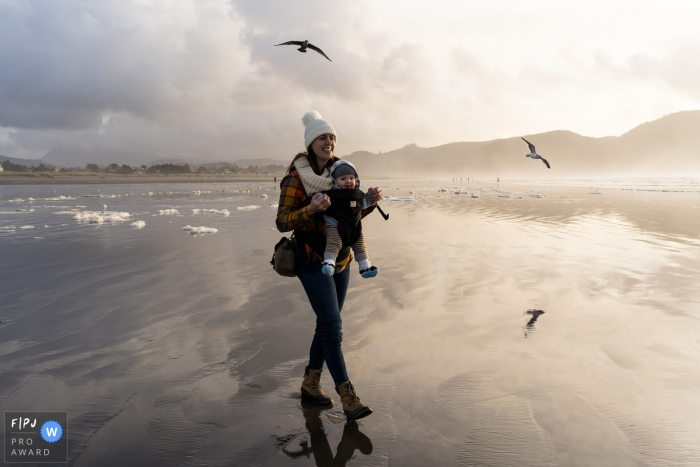 Italy Documentary Family Photographer | Walking down in Cannon Beach at sunset