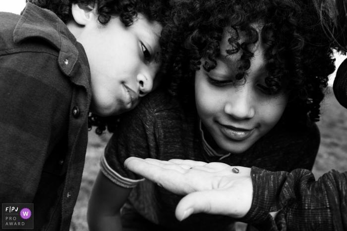 Modena Documentary Family Photography | brothers look closely at at tiny snail