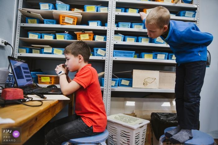 Saint-Petersburg documentary school photography of two boys at school