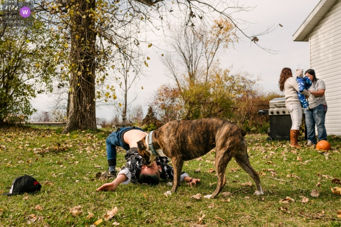 Ontario boy and dog play in the back yard while everyone is busy with the baby in this Kingston family photography