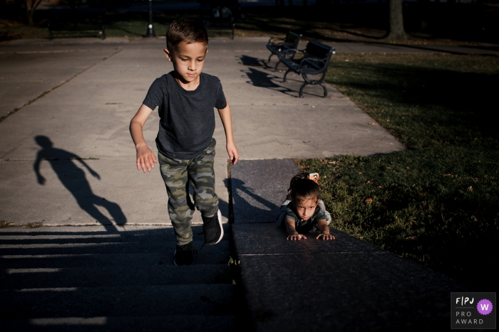 Chicago kids documentary-style family photo shoot during COVID - No playground needed in 2020