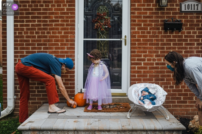 Maryland family photo from Halloween 2020. The neighborhood parade was cancelled due to COVID, but children still wanted to dress up and come out the front of their houses to show their costumes