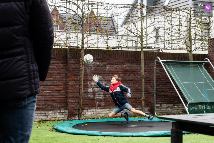 Noord Brabant Day in the Life documentary family photo showing the Practice of goalkeeping skills