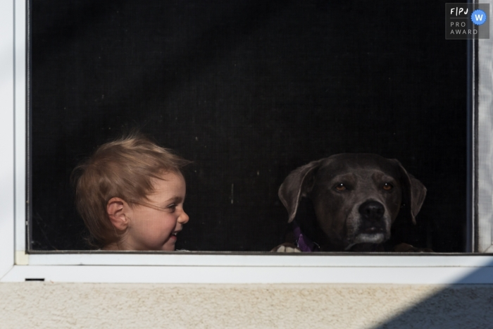 Moment driven Ventura family photojournalism image of a girl and dog at the window